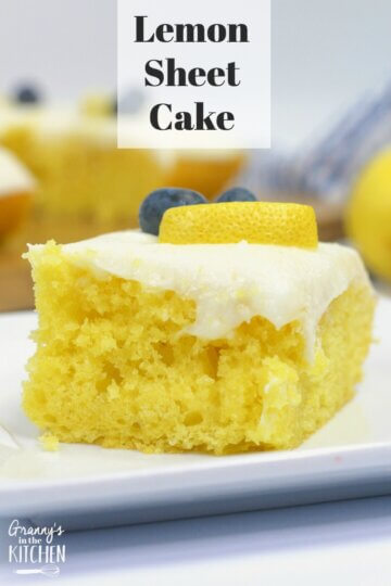 If you love lemons, then this is the dessert for you! This classic lemon sheet cake recipe is delicious AND easy to make -- it's almost foolproof! We started with a soft and fluffy lemon buttermilk sheet cake and topped it with just the right amount of luscious cream cheese frosting. It's the perfect dessert for summer potlucks and guaranteed to be a crowd-pleaser!