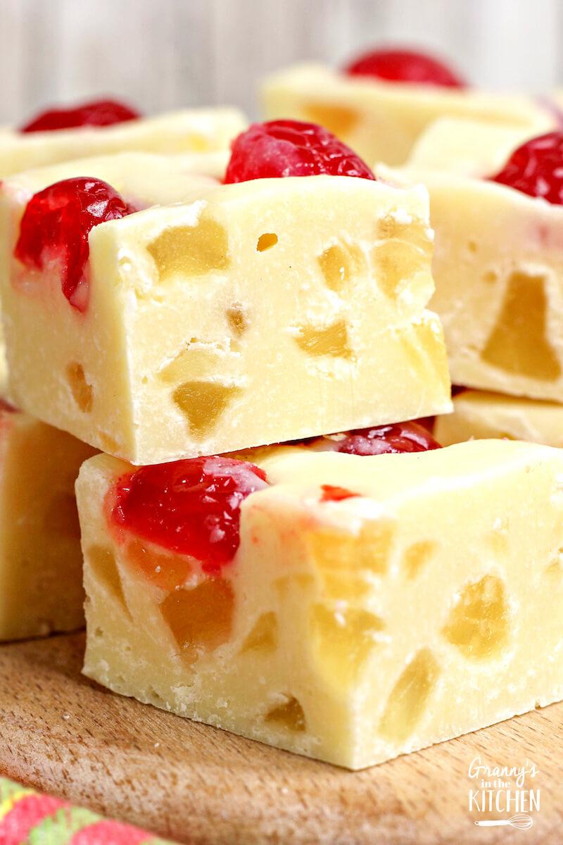 pineapple fudge squares with cherries