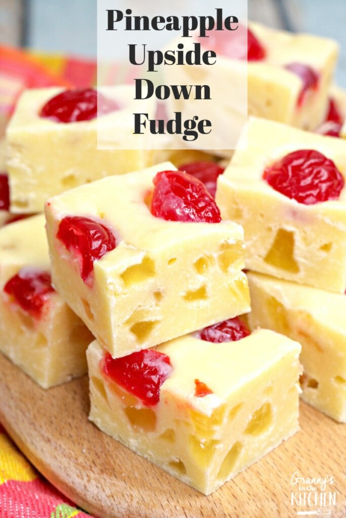 Homemade fudge is always a treat, and this Pineapple Upside Down Fudge is a unique recipe when you're looking for something beyond the usual chocolate and vanilla flavors. This no bake pineapple fudge is filled with cherries and tastes just like pineapple upside down cake! It's so much fun to make and eat!