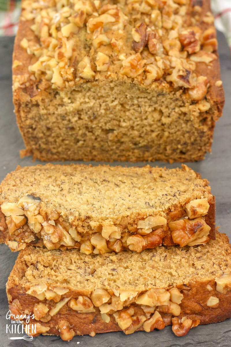 banana nut bread with maple syrup and walnuts