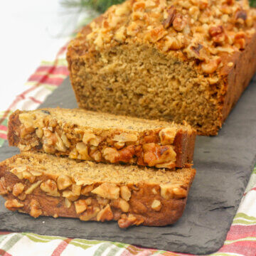 banana nut bread with maple and walnuts
