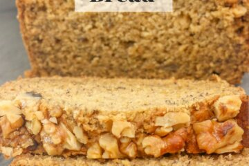 Sliced loaf of maple walnut banana bread