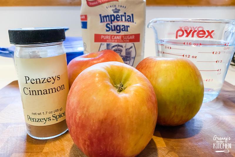 ingredients to make cinnamon apples on the stovetop