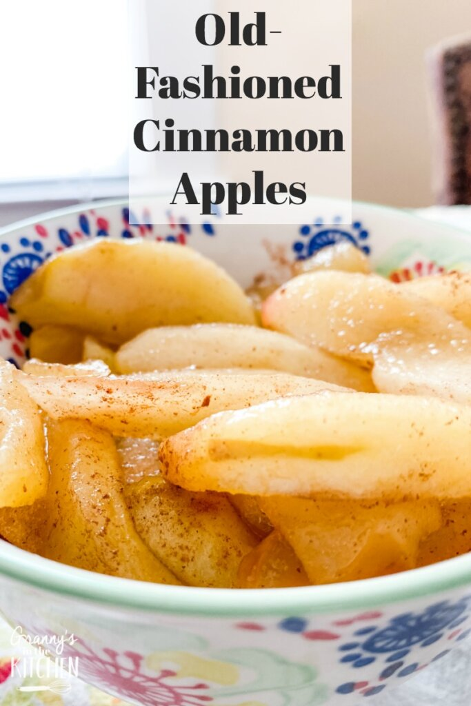 cooked cinnamon apples in serving bowl