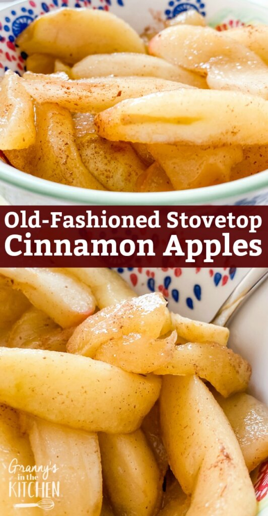 """Known in our family as """"Candied Apple Slices,"""" these stovetop cinnamon apples are always a hit -- and there are never any leftovers! All you need are 4 simple ingredients to make one of the best side dishes of all time!"""