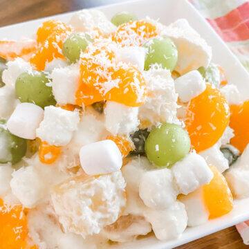 Hawaiian fruit salad with marshmallows on plate