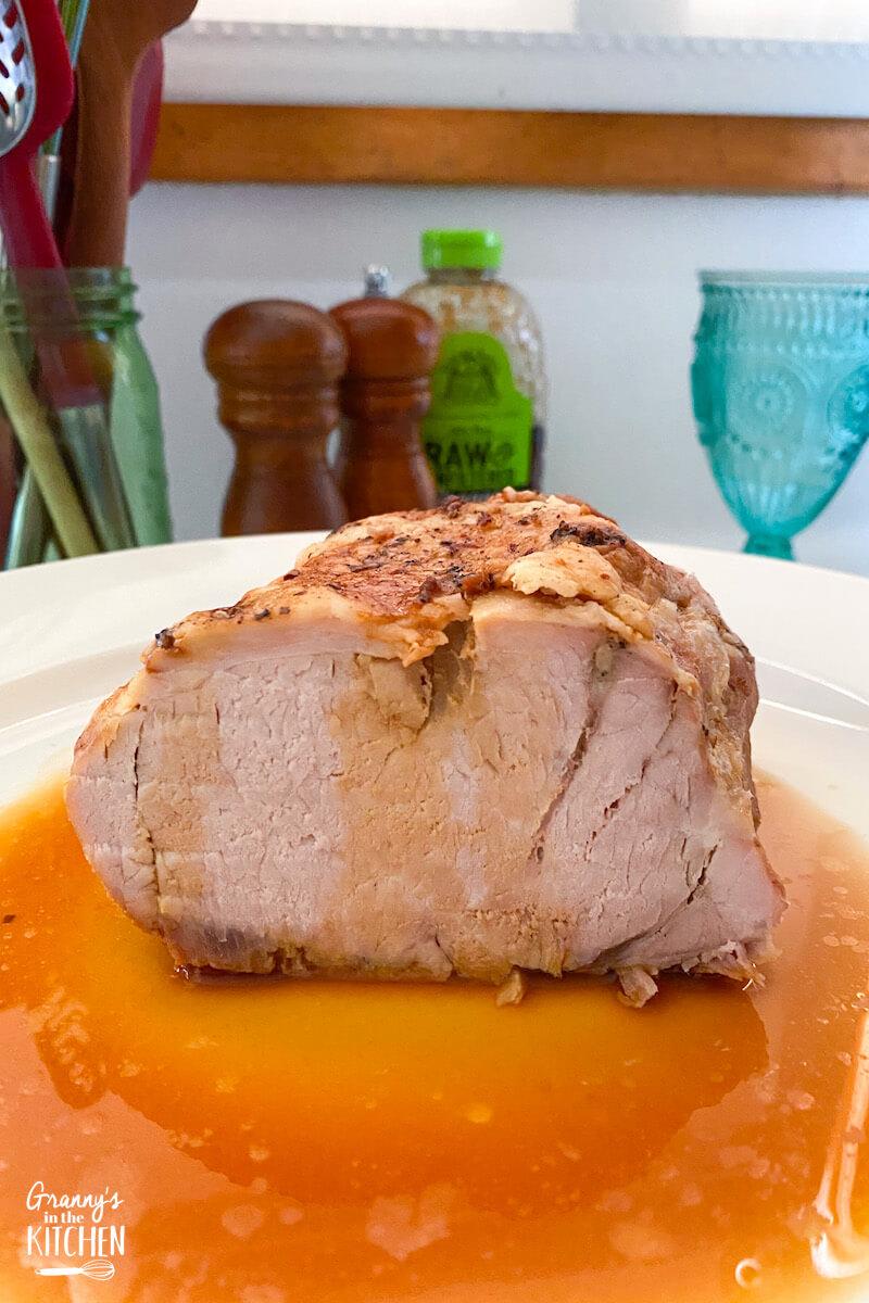 pork roast on serving plate