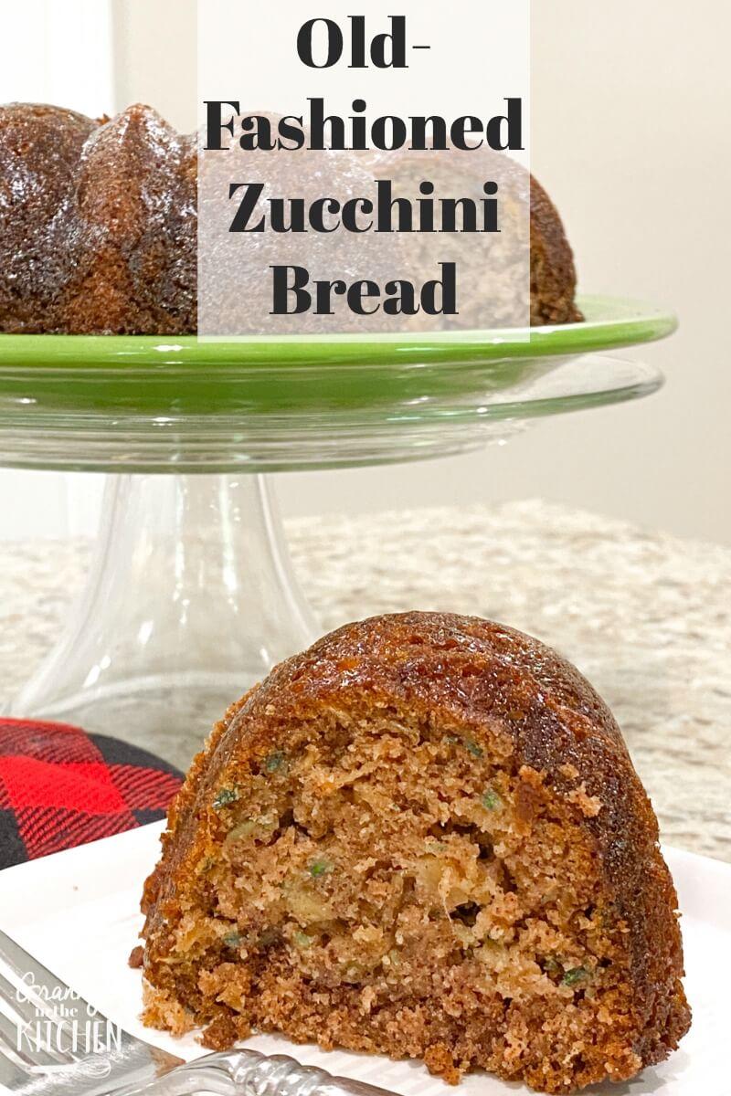slice of zucchini bundt cake on plate