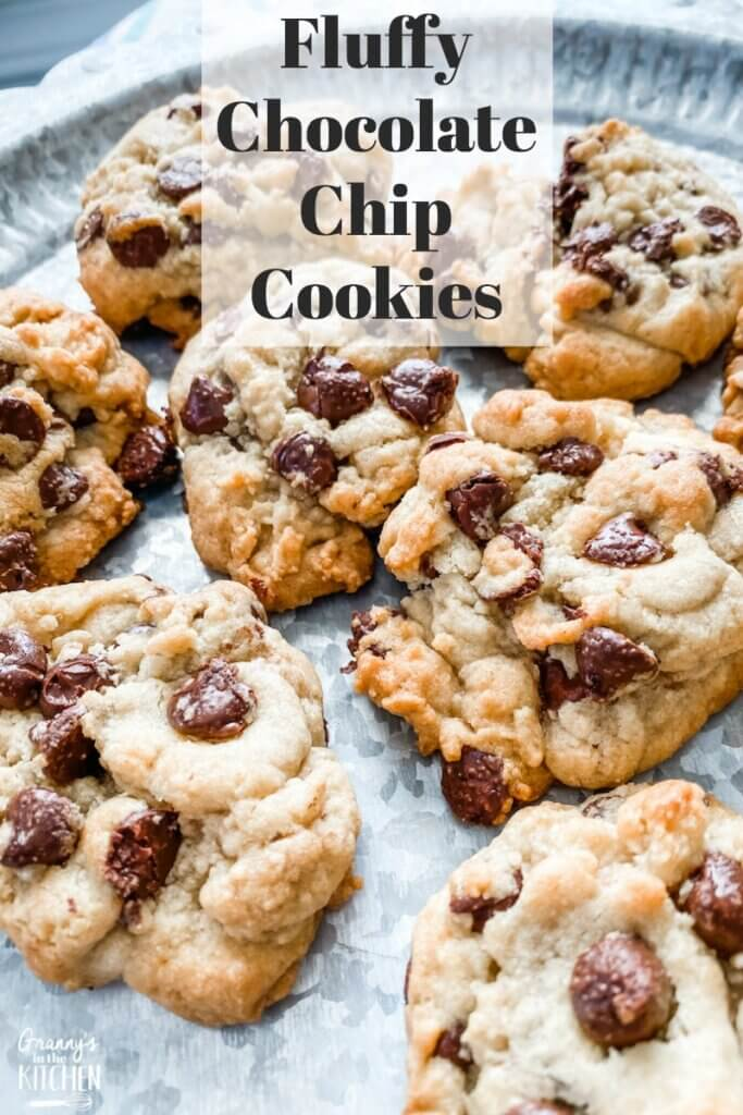 a plate of thick and fluffy chocolate chip cookies