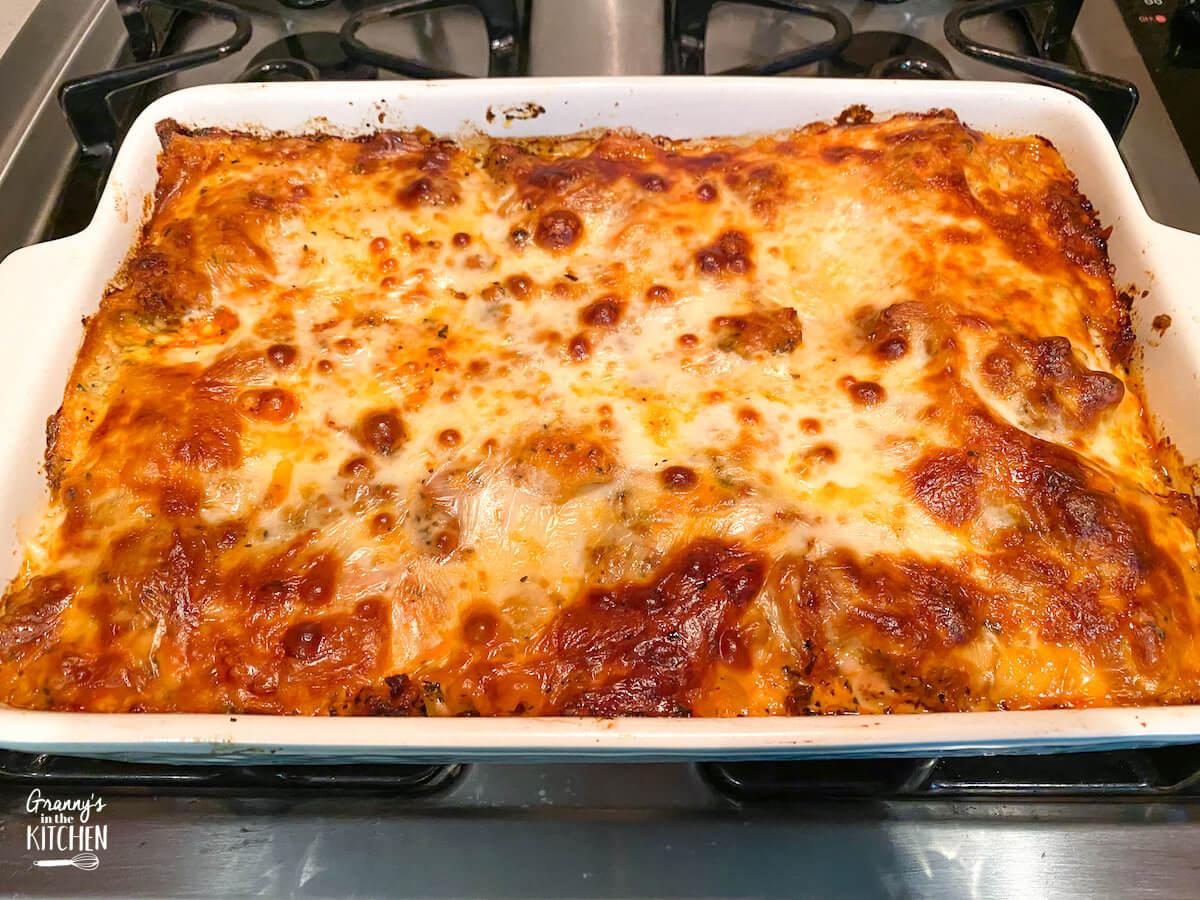 homemade lasagna hot in pan