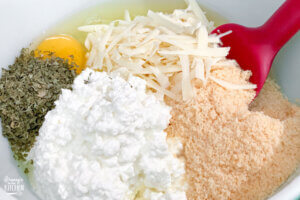 ingredients for homemade lasagna filling in mixing bowl