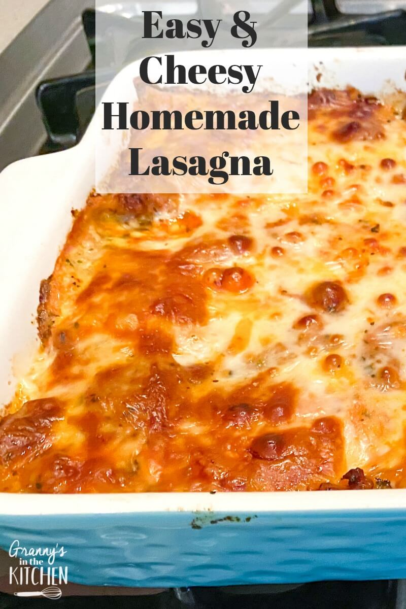 fresh baked lasagna in the pan