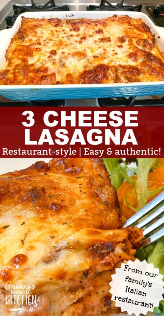 homemade lasagna in pan and on plate
