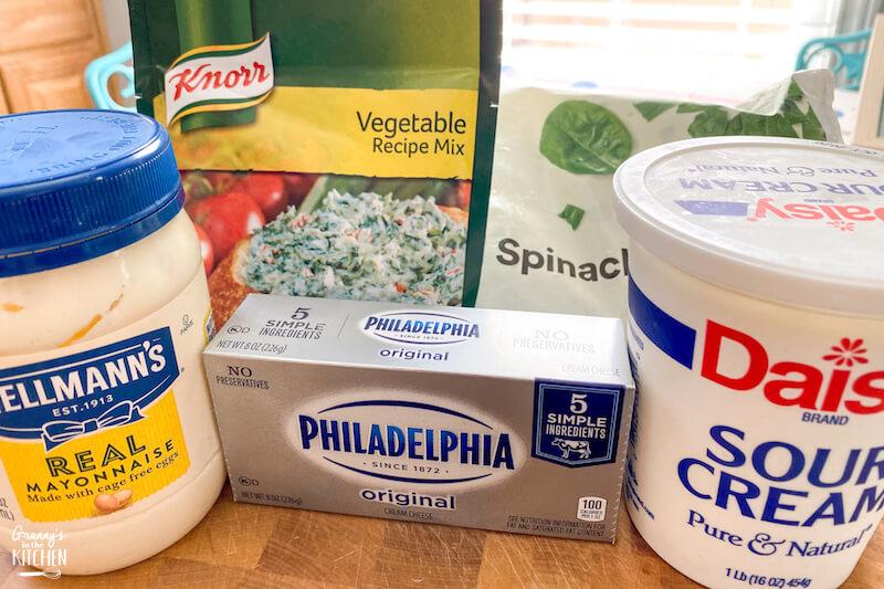 ingredients to make Knorr spinach dip
