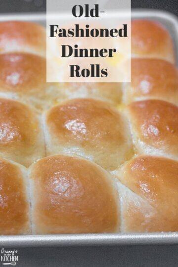 fresh baked dinner rolls still in pan