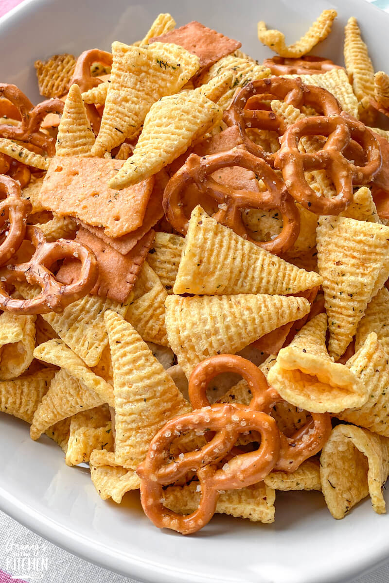 snack mix with cereal, pretzels, and ranch dressing