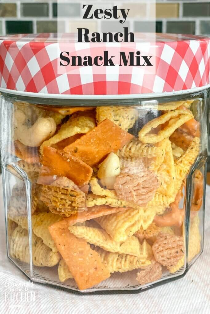 glass jar with ranch party mix