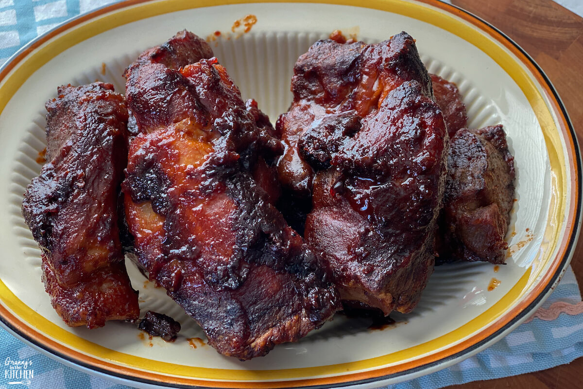 barbecue country style pork ribs on plate
