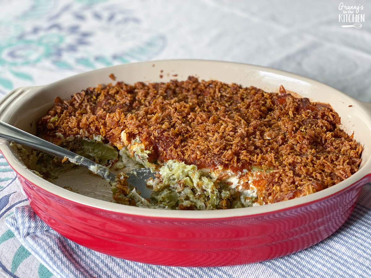 broccoli casserole from scratch in red serving dish