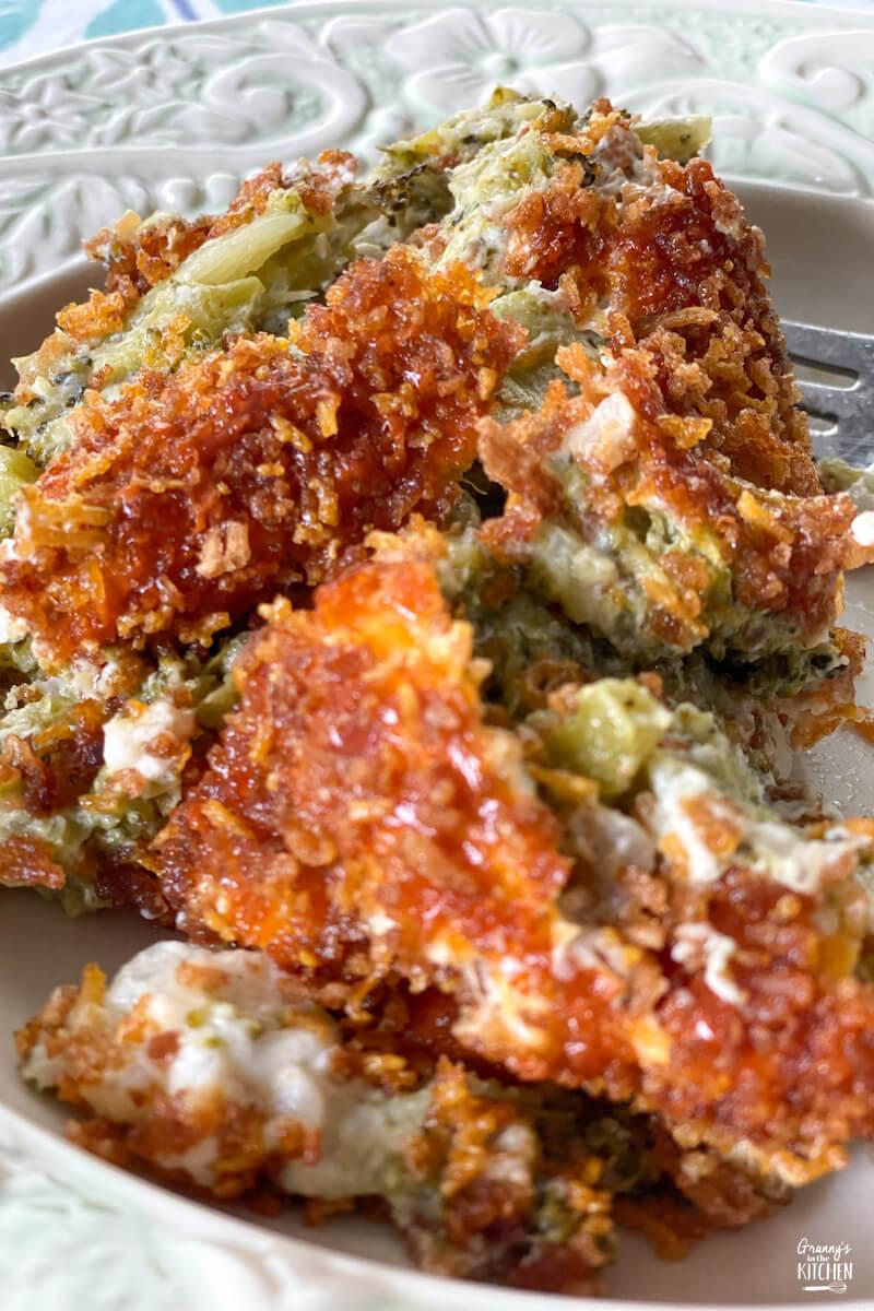 broccoli casserole on plate