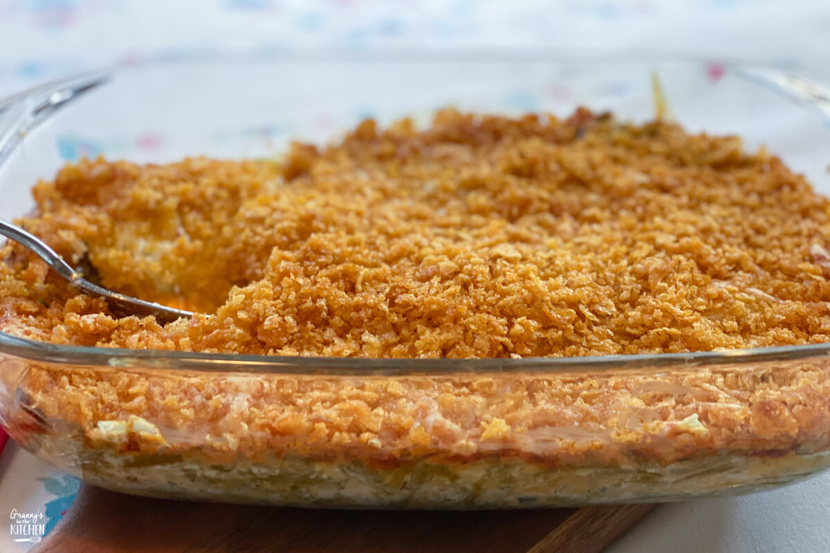 green bean casserole with crispy corn flake topping
