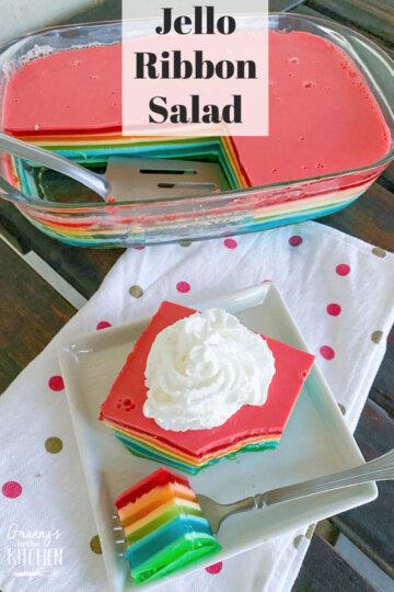rainbow jello layered dessert