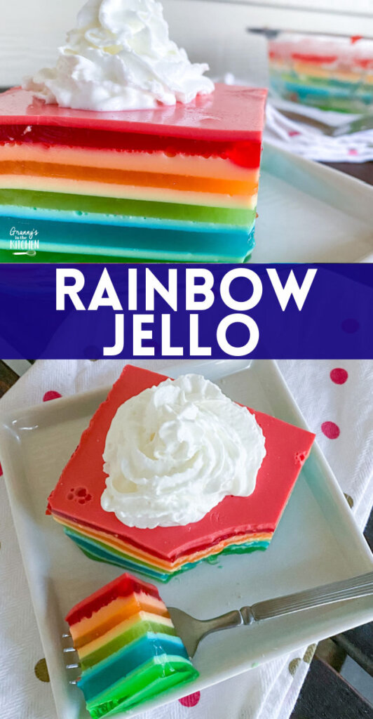 layered rainbow jello dessert