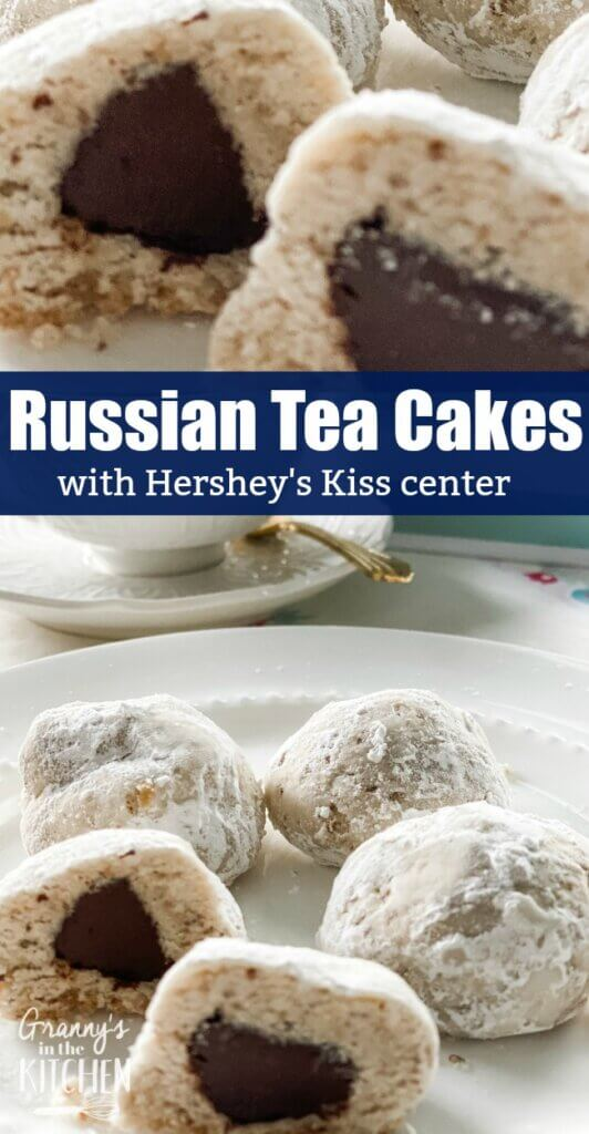 Russian tea cakes cookie with chocolate center