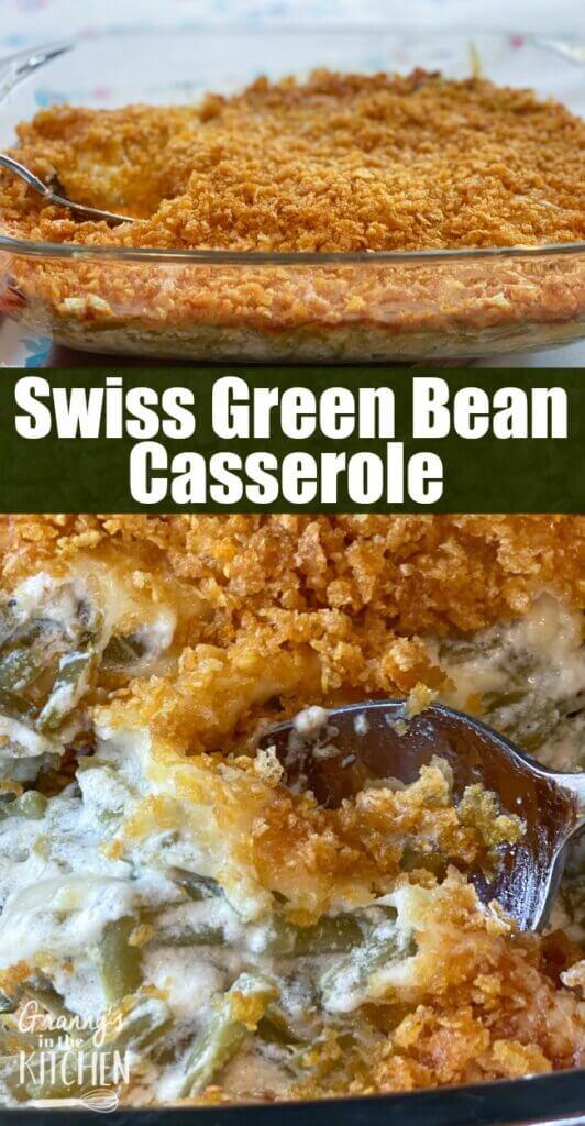 swiss green bean casserole in baking dish