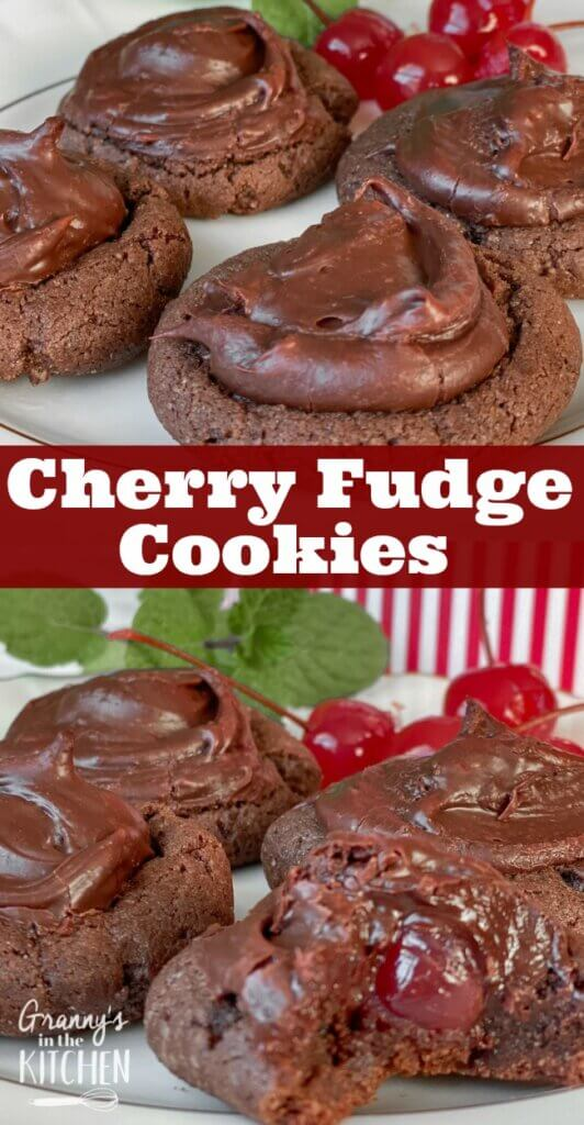 Rich, brownie-like chocolate cookies with a maraschino cherry in the middle and fudge icing.