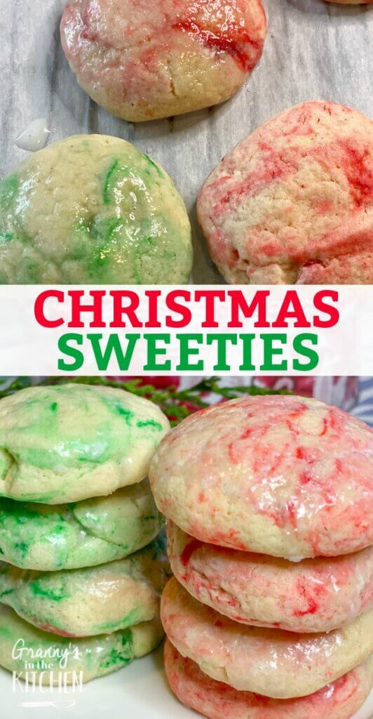 red and green swirled Christmas sweeties cookies