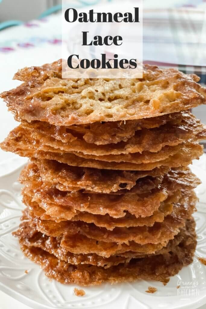 stack of oatmeal lace cookies
