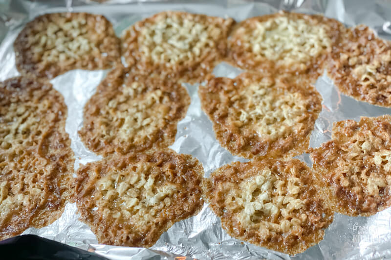 oatmeal lace cookies just out of the oven
