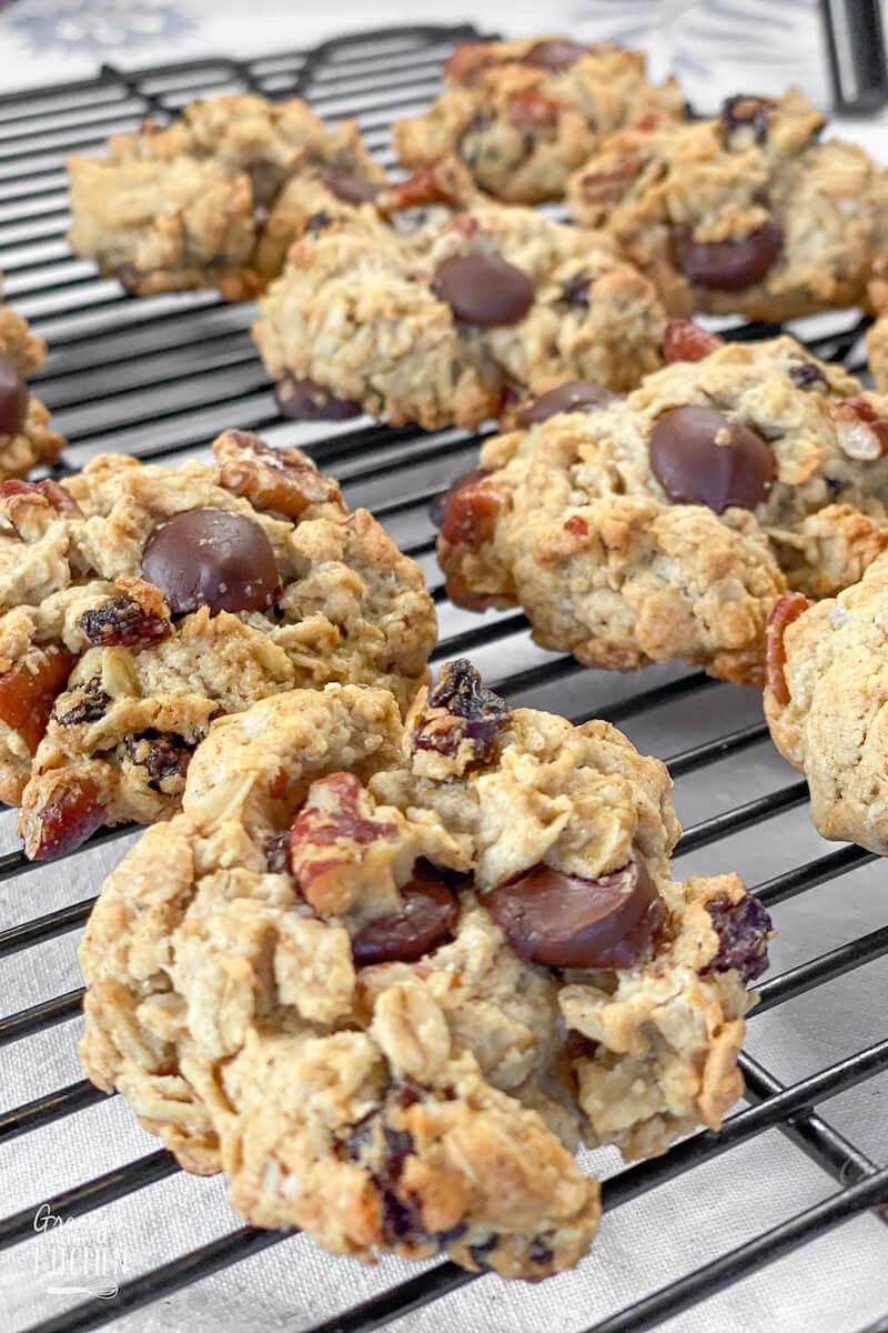 freshly baked oatmeal raisin chocolate chip cookies