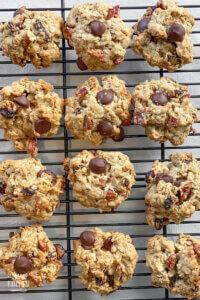 oatmeal raisin chocolate chip cookies on baking rack