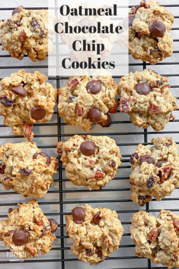 oatmeal chocolate chip cookies on baking rack