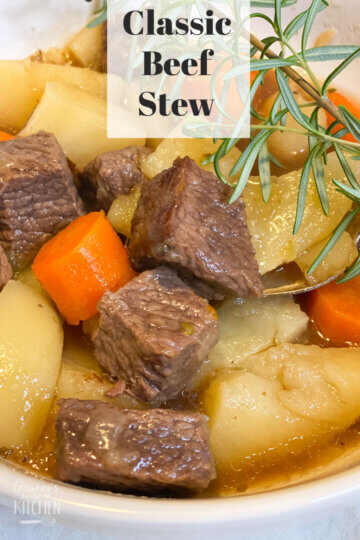 """beef stew in bowl; text overlay """"Classic Beef Stew"""""""