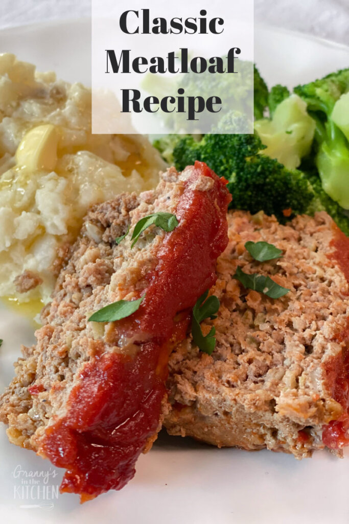 sliced meatloaf on plate with potatoes and broccoli