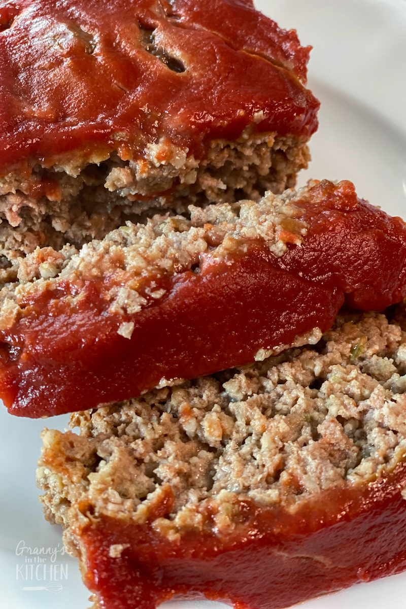 meatloaf topped with ketchup