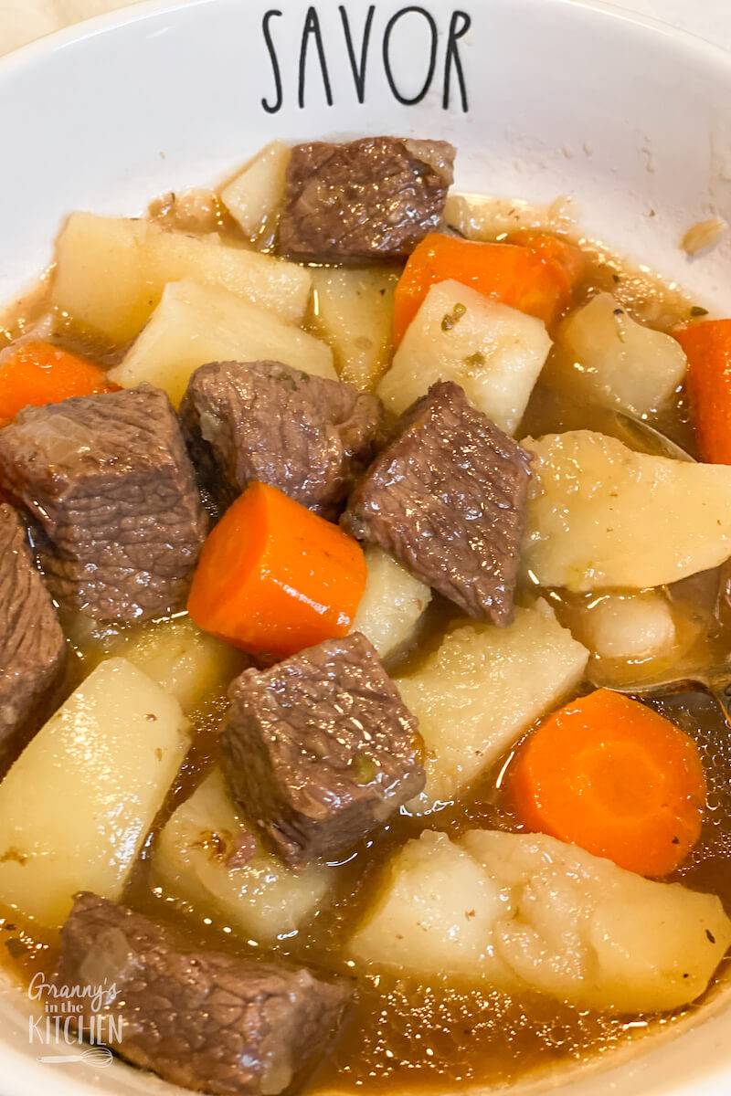 Old Fashioned Beef Stew On The Stovetop Granny S In The Kitchen