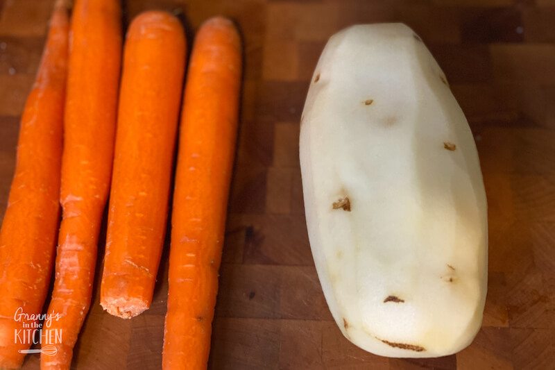 peeled carrots and potato