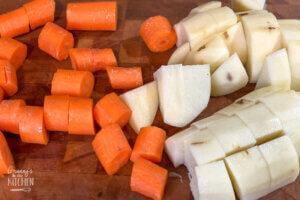 chopped carrots and potato
