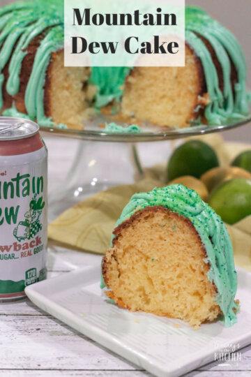 slice of citrus bundt cake made with Mountain Dew soda