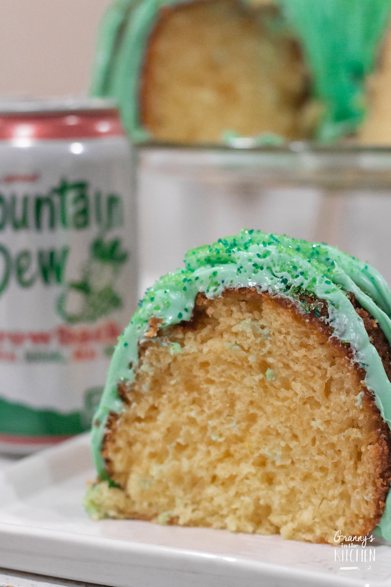 slice of citrus bundt cake made with Mountain Dew soda