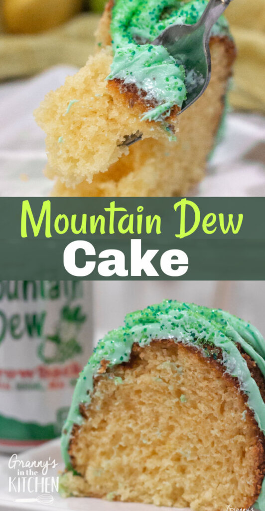 collage image showing bundt cake made with Mountain Dew