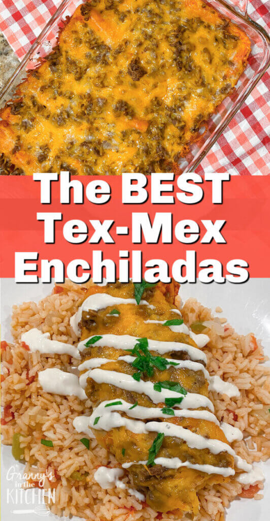 red enchiladas in baking dish and on plate