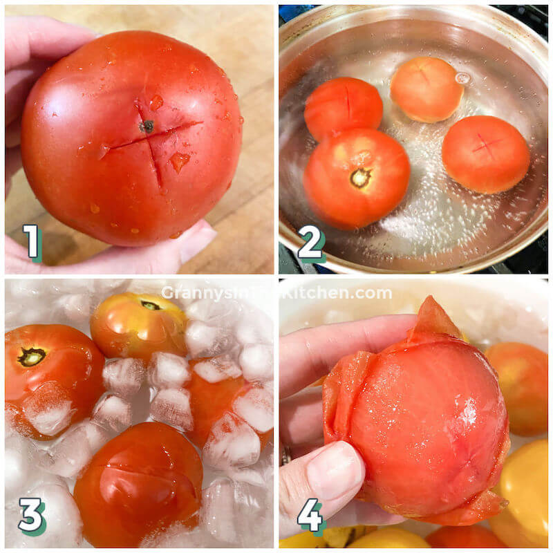 step by step photo collage showing how to scald and peel fresh tomatoes