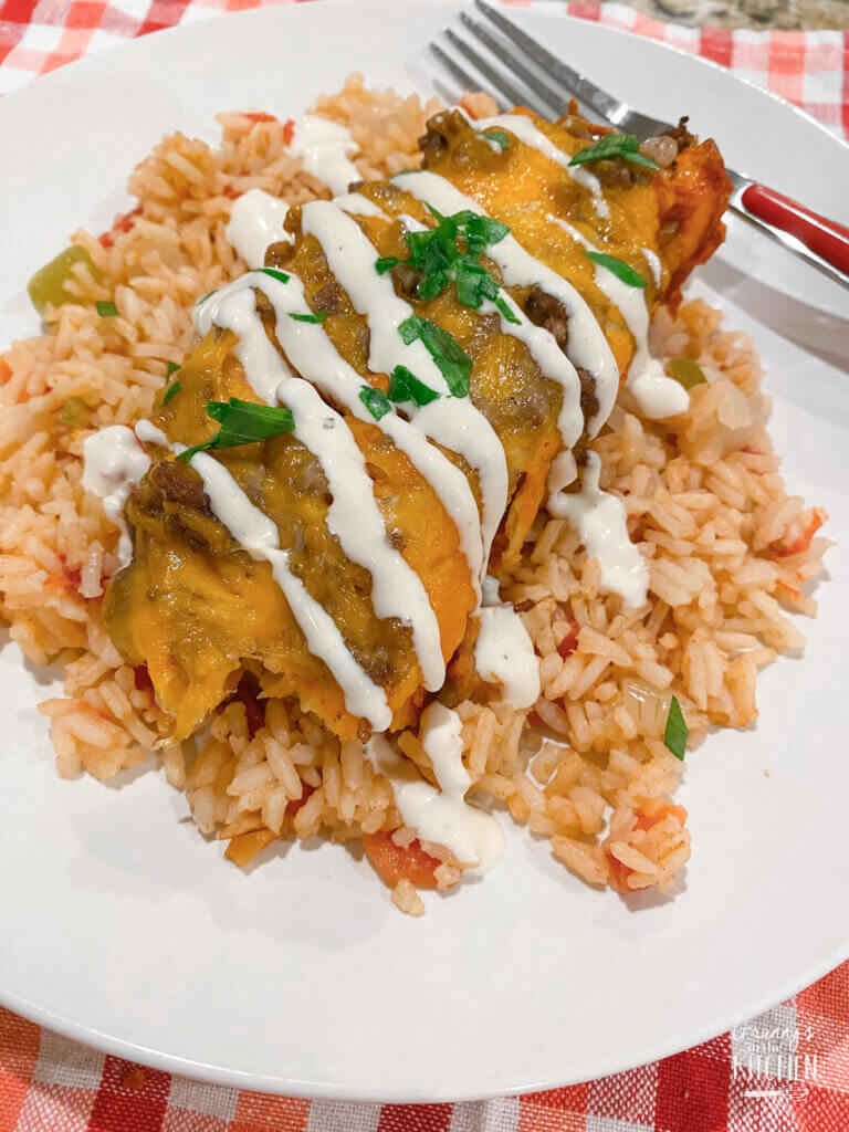 plate of Tex-Mex Enchiladas with rice