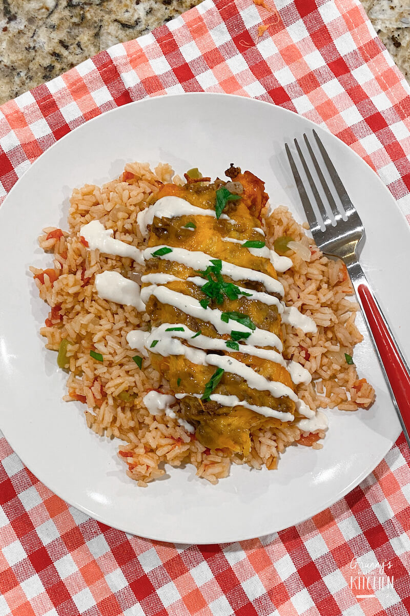 plate of traditional red enchiladas