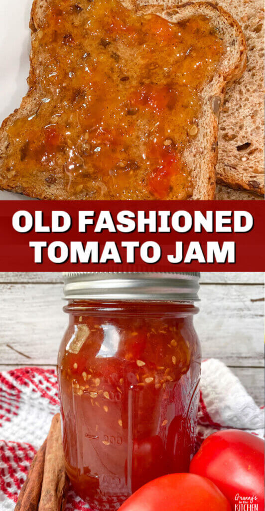 tomato jam in jar and on bread